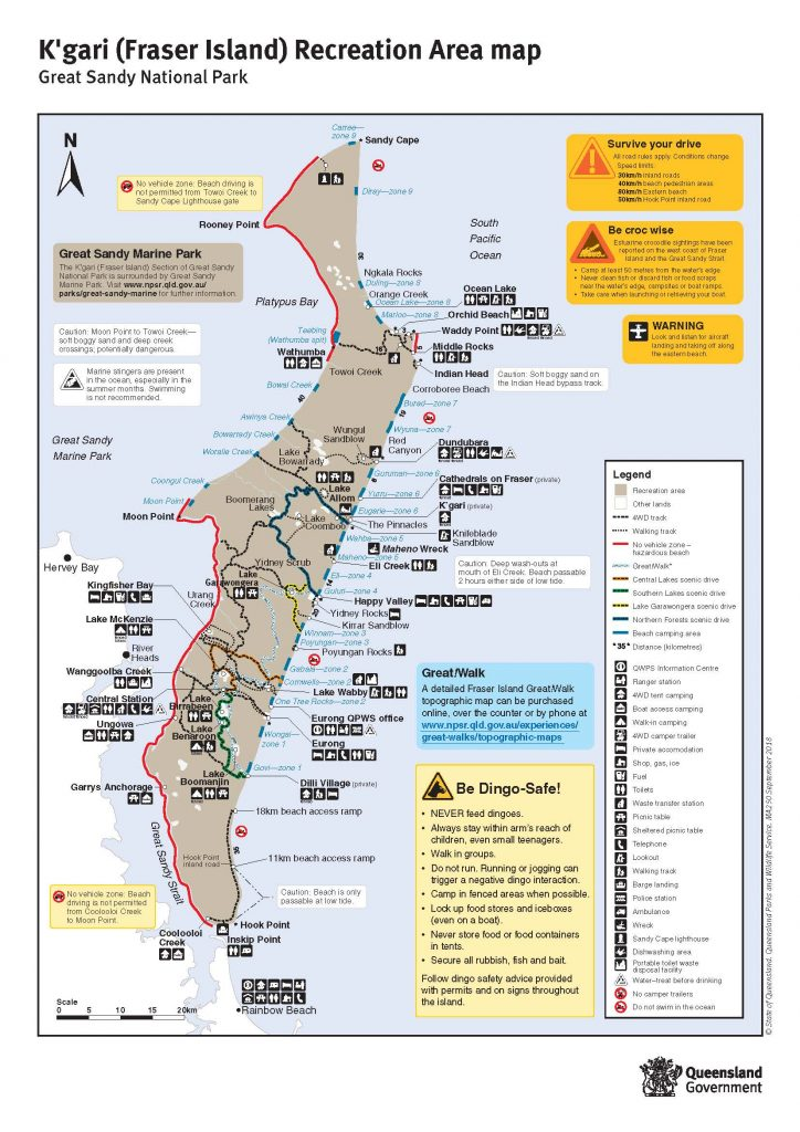 Fraser Island Map showing 4WD tracks, towns and attractions